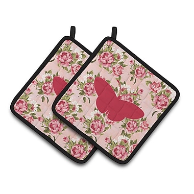East Urban Home Butterfly Shabby Elegance Roses Pink Fabric Potholder (Set of 2) (Set of 2)