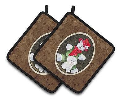 East Urban Home Bichon Frise w/ Teddy Bear Potholder (Set of 2)