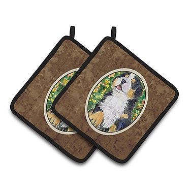 East Urban Home Bernese Mountain Brown/Green Dog Potholder (Set of 2)