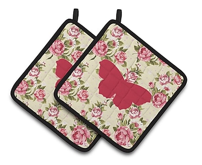 East Urban Home Butterfly Shabby Elegance Roses Yellow/Pink Frabic Potholder (Set of 2)