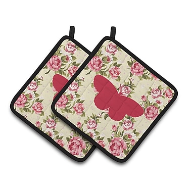 East Urban Home Butterfly Shabby Elegance Roses Black Trim Potholder (Set of 2) (Set of 2)