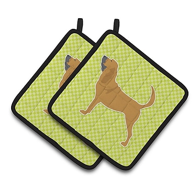 East Urban Home Bloodhound Checkerboard Potholder (Set of 2); Green