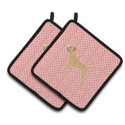 East Urban Home Border Terrier Checkerboard Potholder (Set of 2); Pink