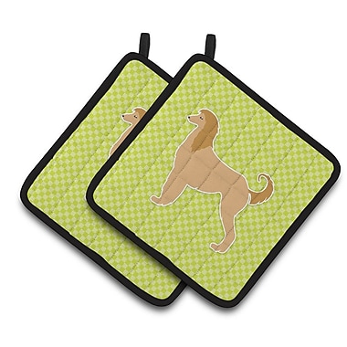 East Urban Home Afghan Hound Checkerboard Potholder (Set of 2); Green