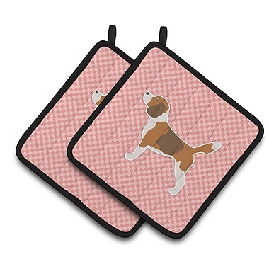 East Urban Home Beagle Checkerboard Potholder (Set of 2); Pink