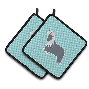 East Urban Home Bearded Collie on Turquoise Checkerboard Potholder (Set of 2); Blue