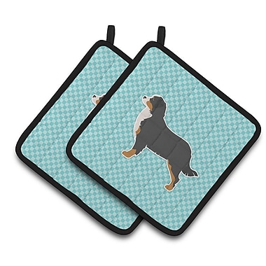 East Urban Home Bernese Mountain Dog Checkerboard Potholder (Set of 2); Blue
