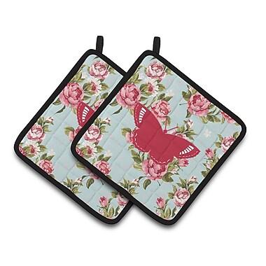 East Urban Home Butterfly Shabby Elegance Roses Blue/Pink Potholder (Set of 2)