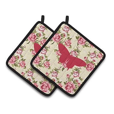 East Urban Home Butterfly Shabby Elegance Roses Yellow/Pink Potholder w/ Hanging Tab (Set of 2)