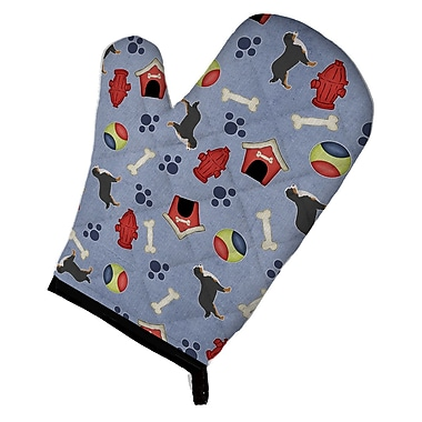 East Urban Home Dog House on Blue-Gray Background Oven Mitt