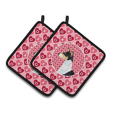 East Urban Home Basenji Hearts Love and Valentine's Day Portrait Potholder (Set of 2)