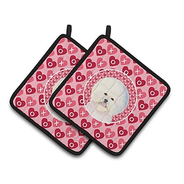 East Urban Home Bichon Frise Hearts Love and Valentine's Day Portrait Potholder (Set of 2)