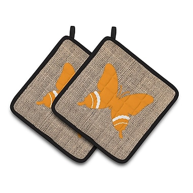 East Urban Home 2 Pieces Butterfly Gray Potholder (Set of 2); Orange