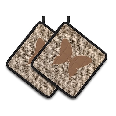 East Urban Home 2 Pieces Butterfly Insulated Potholder (Set of 2); Brown