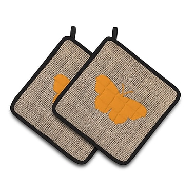 East Urban Home 2 Pieces Butterfly Insulated Gray Potholder (Set of 2); Orange