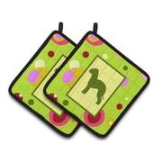East Urban Home Bedlington Terrier Green Potholder (Set of 2)