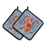 East Urban Home Red Crab Blue Potholder (Set of 2)