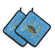 East Urban Home Crab Blue Potholder (Set of 2)