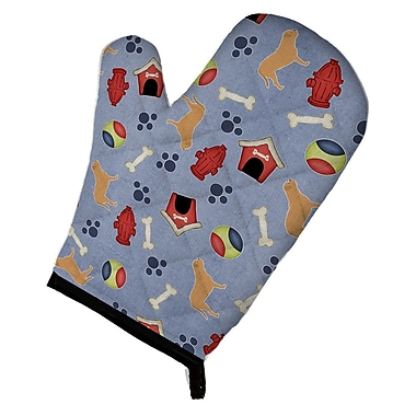 East Urban Home Patterned Dog House w/ Bone on Blue-Gray Background Oven Mitt