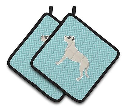 East Urban Home Dog Square Checkerboard Potholder (Set of 2); Blue
