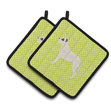 East Urban Home Dog Square Checkerboard Potholder (Set of 2); Green