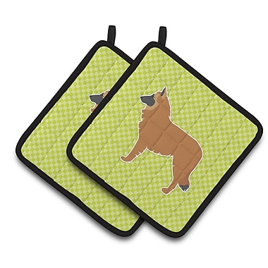 East Urban Home Belgian Shepherd Checkerboard Potholder (Set of 2); Green