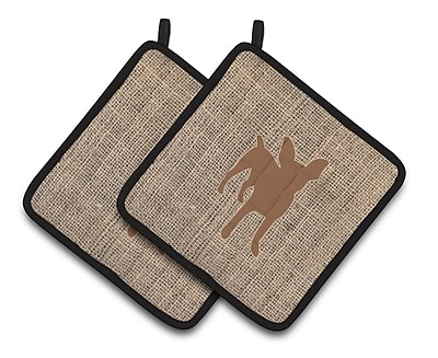 East Urban Home Faux Burlap Black Trim Potholder (Set of 2); Brown
