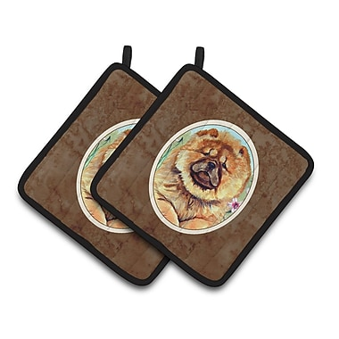 East Urban Home Chow Chow Patterned Brown/Orange Potholder (Set of 2)
