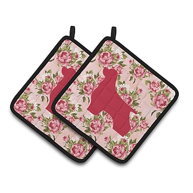 East Urban Home Shabby Elegance Roses Pink Frabic Potholder (Set of 2)