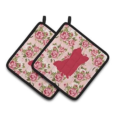 East Urban Home Shabby Elegance Roses Thick Potholder (Set of 2) (Set of 2)