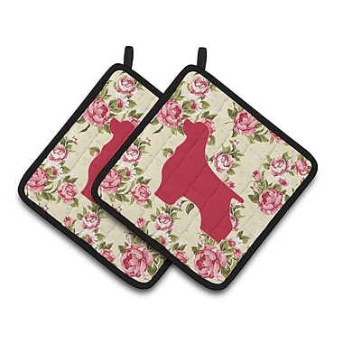 East Urban Home Shabby Elegance Roses Thick Potholder (Set of 2)