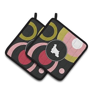 East Urban Home Black Frabic Potholder (Set of 2) (Set of 2)