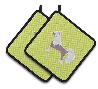 East Urban Home Chinese Crested Checkerboard Potholder (Set of 2); Green