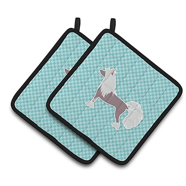East Urban Home Chinese Crested Checkerboard Potholder (Set of 2); Blue