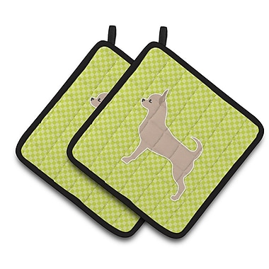 East Urban Home Chihuahua Checkerboar Potholder (Set of 2); Green