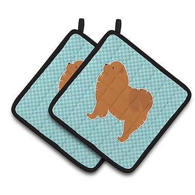 East Urban Home Chow Chow Checkerboard Potholder (Set of 2); Blue