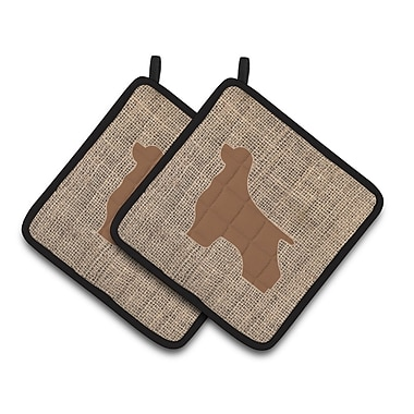 East Urban Home Faux Burlap Potholder (Set of 2); Brown