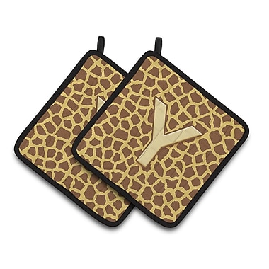 East Urban Home Brown/Yellow Potholder (Set of 2) (Set of 2); Y