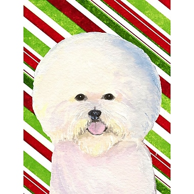 East Urban Home Bichon Frise Candy Cane Holiday Christmas 2-Sided Garden Flag