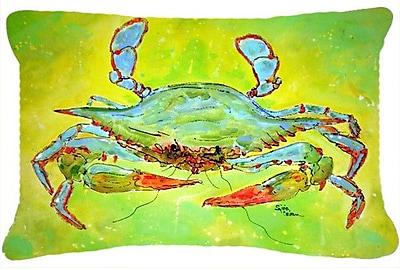 East Urban Home Coastal Blue Crab Indoor/Outdoor Throw Pillow