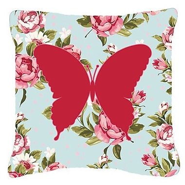 East Urban Home Butterfly Contemporary Shabby Elegance Blue Roses Indoor/Outdoor Throw Pillow