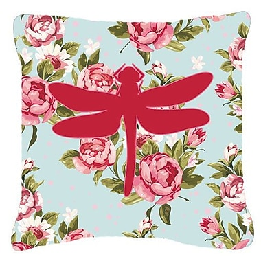East Urban Home Dragonfly Shabby Elegance Blue Roses Indoor/Outdoor Throw Pillow