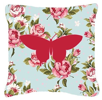East Urban Home Contemporary Butterfly Shabby Elegance Blue Roses Square Indoor/Outdoor Throw Pillow