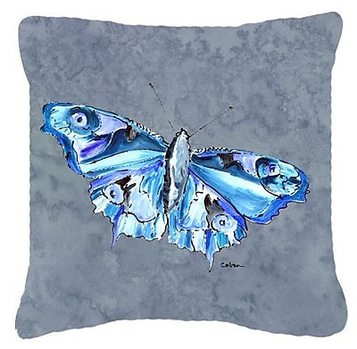 East Urban Home Butterfly Indoor/Outdoor Square Gray Throw Pillow; 18'' H x 18'' W x 5.5'' D