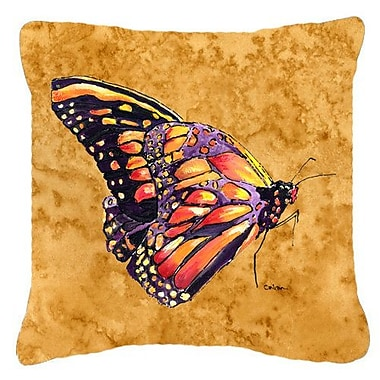 East Urban Home Butterfly Indoor/Outdoor Square Orange Throw Pillow; 18'' H x 18'' W x 5.5'' D