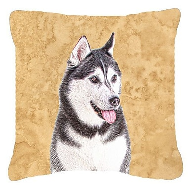 East Urban Home Alaskan Malamute Indoor/Outdoor Beige/Gray Throw Pillow; 18'' H x 18'' W x 5.5'' D