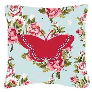 East Urban Home Modern Butterfly Shabby Elegance Blue/Red Roses Indoor/Outdoor Throw Pillow