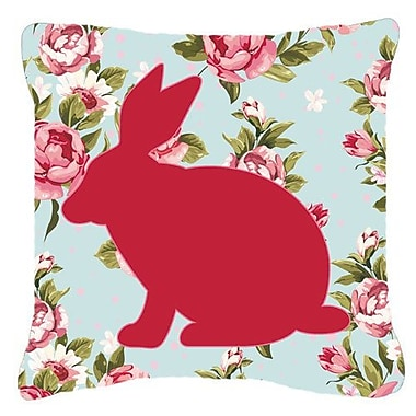 East Urban Home Rabbit Shabby Elegance Blue Roses Indoor/Outdoor Throw Pillow