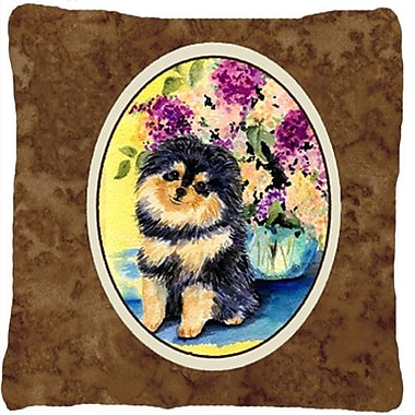 East Urban Home Pomeranian Indoor/Outdoor Graphic Print Brown Throw Pillow