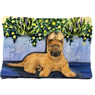 East Urban Home Briard and Yellow Flower Indoor/Outdoor Throw Pillow